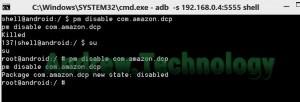 ADB shell pm disable com.amazon.dcp