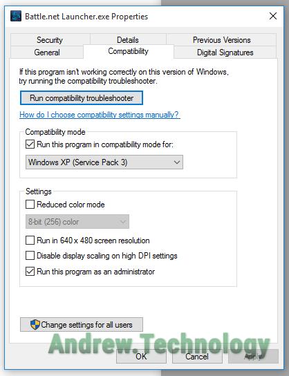 Battle.net Launcher Compatibility mode