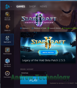 Battle.net Launcher with StarCraft II ready to launch