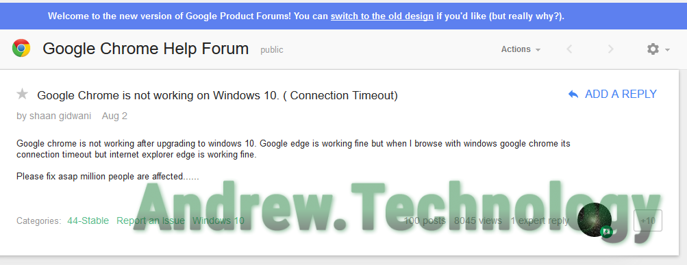 Google Produt Forum Chrome Issue