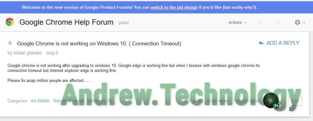 Google Produt Forum Chrome Issue