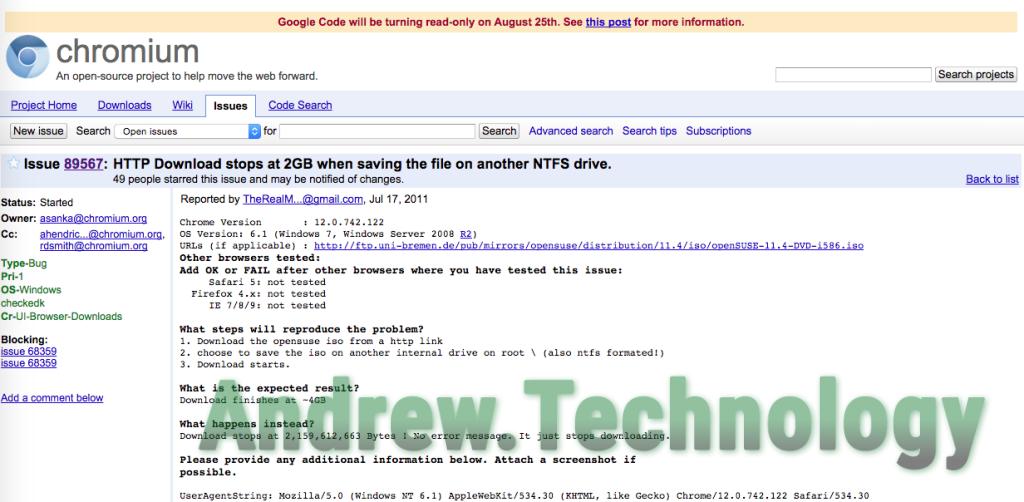 Chromium's issue thread on Google Code