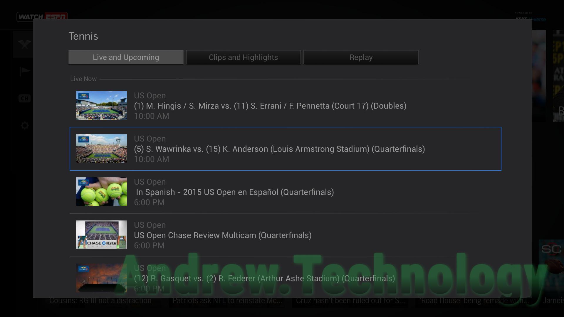 WatchESPN FireTV US Open (5) S. Wawrink vs. (15) K. Anderson (Louis Armstrong Stadium) (Quarterfinals)