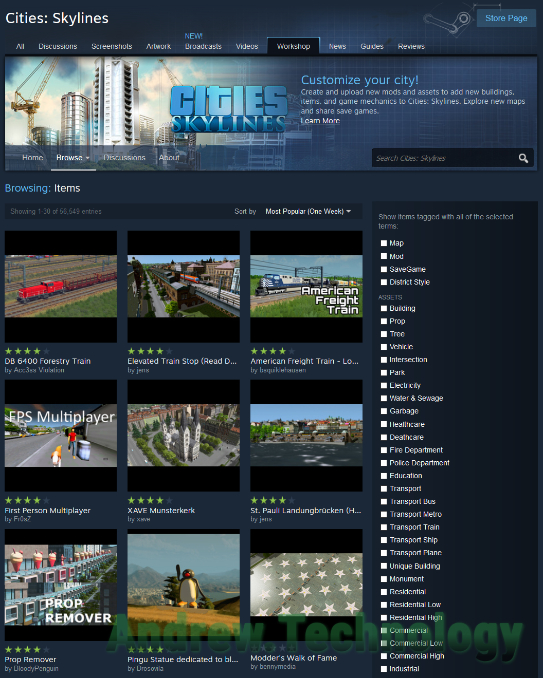 Cities:Skyline Steam Workshop mods, buildings, assets, vehicles, saved games