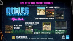 Cities: Skylines After Dark list of free content features patch September 24th 2015