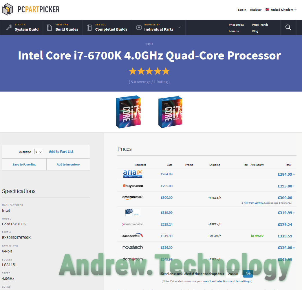 Intel i7 6700K Availability Europe PCPartPicker in stock