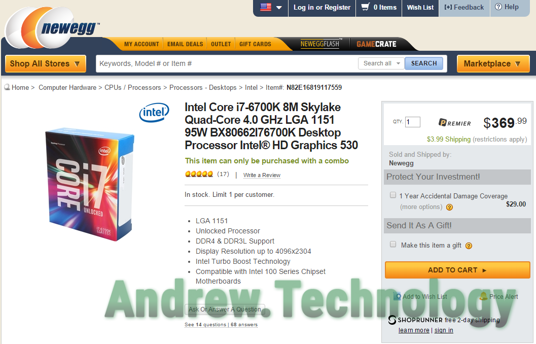 Intel i7 6700K available Newegg as combo only