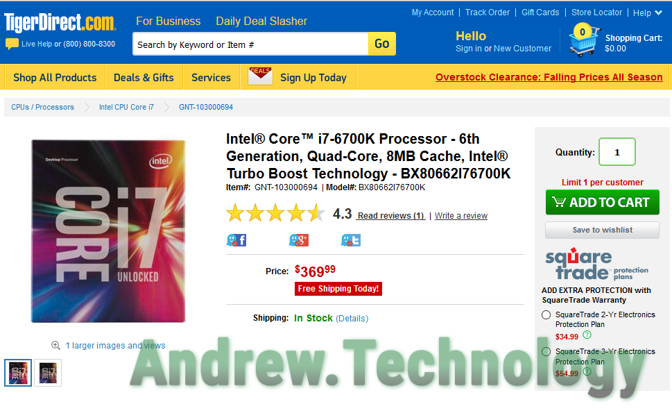 Intel i7-6700K availabile at TigerDirect