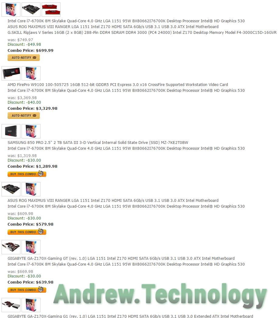 Newegg Intel Core i7 6700K Combos