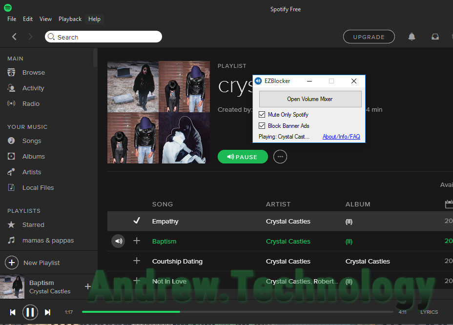 Spotify with EZBlocker running on Windows 10