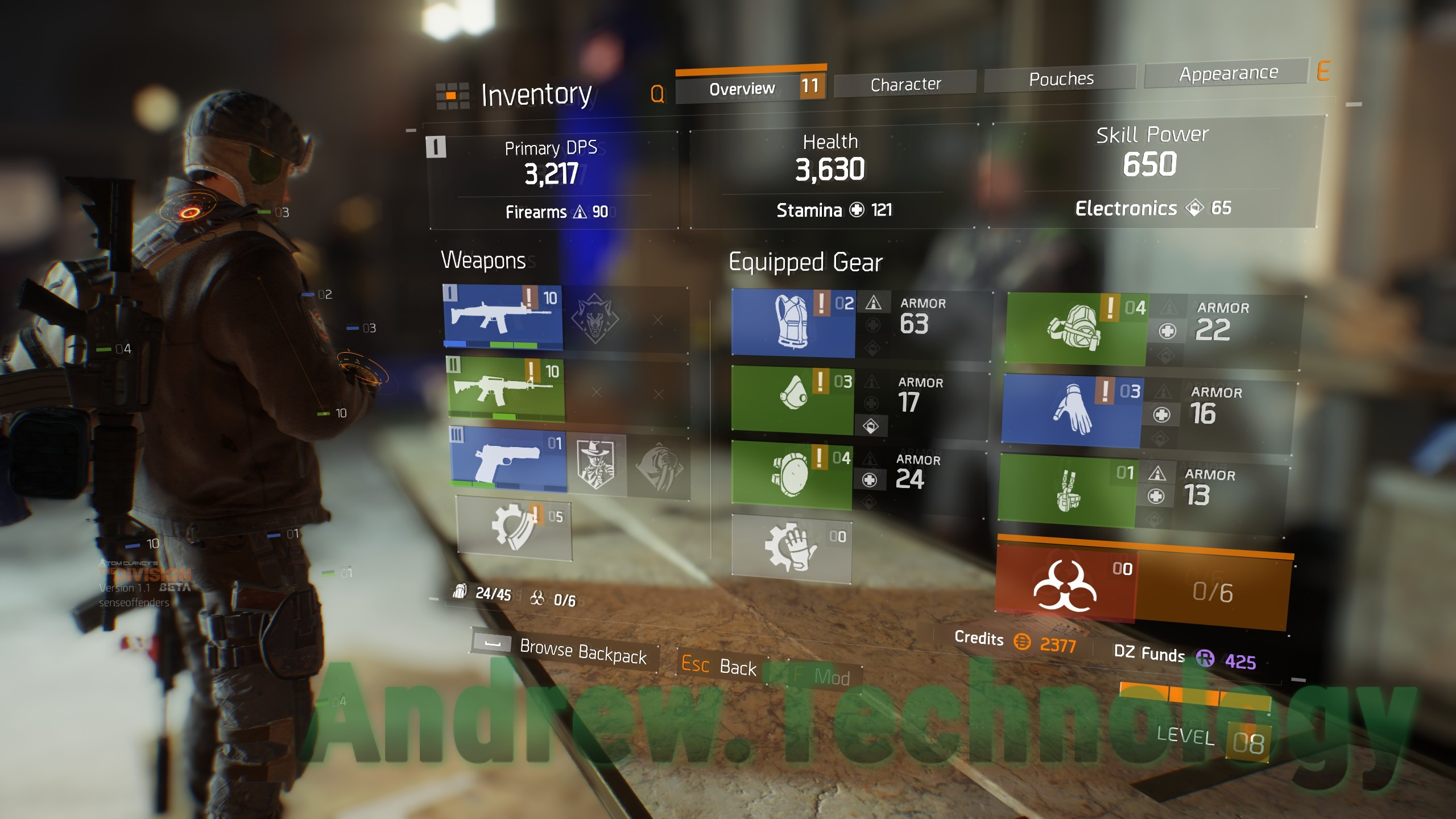 The Divison Overview Inventory Menu with Equipment Guns and Gears Firearms, Stamina, and Electronics are Stats