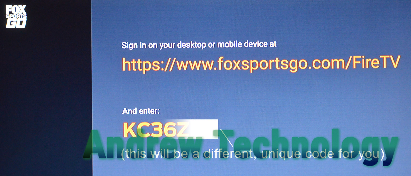Sign in on your desktop or mobile device at https://www.foxsportsgo.com/FireTV