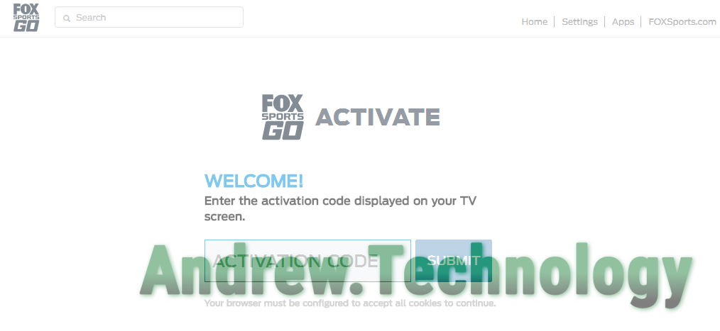 "FOX Sports GO Activate ""Enter the activation code displayed on your TV screen."""
